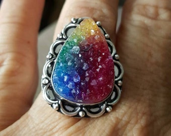 Rainbow Druzy Ring- size 9.25!