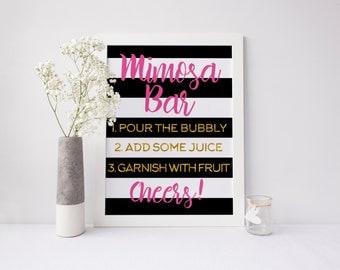 Mimosa Bar | Bridal Shower Sign | Bridal Shower Decor | Kate Spade Theme | Gold Foil, Pink, Black & White | Instant Download | DIGITAL FILE