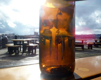 Large cut beer bottle glasses with Seattle skyline etching - 22 oz.