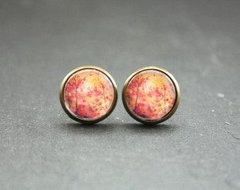 """Cabochon earrings """"Night walk"""" 12 mm"""
