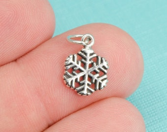 Sterling Silver Snowflake Small Bracelet Charm, Winter, Pendant, Jewelry, .925 Silver, Snow, Blizzard, North, DIY Bracelet, (C115)