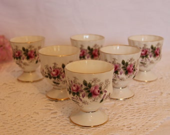 Six Royal Albert Lavender Rose Eggcups Six Egg servers Lavender Rose