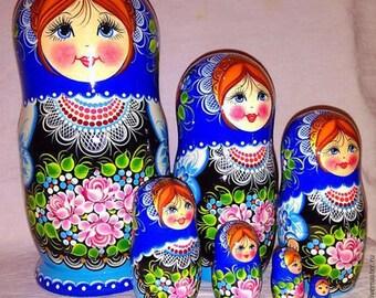 Russien wooden nesting dolls  matryoshka 7 in 1  20-21 cm (7,9-8in)