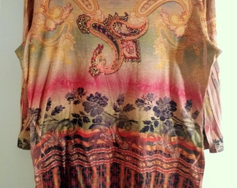 Paisley and Flowers with Tribal Designs in Earth Tones Shirt