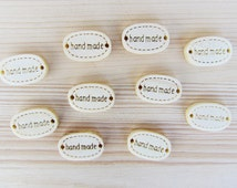 10 wood tags for hat crochet knit «handmade» - 18 mm