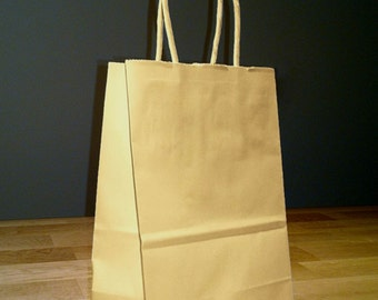 50 Pack 5x4x8 (approximate) Small Kraft Brown Paper Shopping Gift Bags with Rope Handles