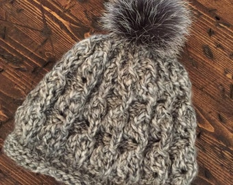 The Patti. Cozy  mink Pom Pom woman hand knitted