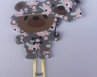 Floral Teddy Bear Planner Paperclip, Bookmark
