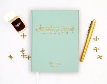 Wedding Guest Book Personalized Gold Guest Book Gold Guestbook Custom Guestbook pink gold Guest book Script faux Gold Foil Guest Book mint