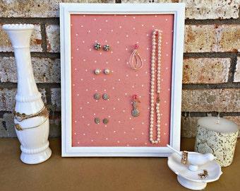 Framed Earring Display, Stud Earring Holder, Jewelry Organizer, Blush and White, Earring Storage