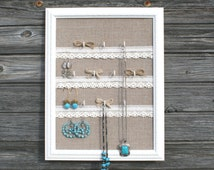Rustic Jewelry holder, Shabby chic Jewelry organizer, Vintage Jewelry display frame, Burlap and lace Wall decor, Rustic vintage wedding gift