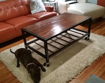 Handmade Industrial / Modern Metal and Wood Coffee Table on Caster Wheels