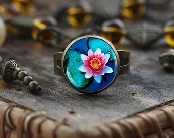 Lotus ring, Lotus flower ring, Lotus jewelry, Pink Lotus photo ring, Yoga ring, Adjustable Ring
