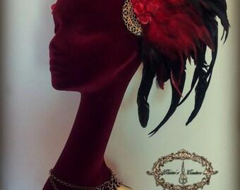 Black feather headdress/ Morrigan headdress/ wings headpiece / Tribal fusion / Gypsy Headdress/ Burlesque Headdress/