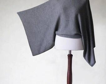 kimono sweater, gray poncho, knit sweater, womens poncho, women's sweater, modern minimalist, knit outerwear, gray sweater, knit poncho