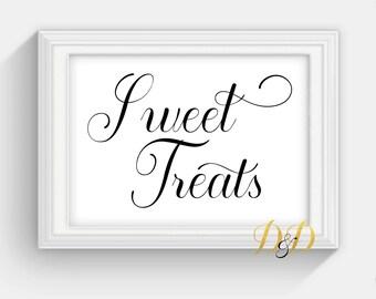 Sweet Treats Wedding Sign Table Sign Wedding Sign Table Card Wedding reception decor Signage Printed Wedding Decor Wedding Dessert SC16