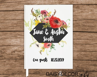 Guest Book, Wedding journal, personalized wedding guestbook, Floral journal modern sign in book simple personalized keepsakes modern wedding