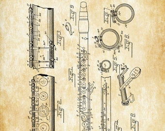Clarinet Patent 1894 - Patent Print, Wind Reed, Woodwind, Music Poster, Music Art, Musician Gift, Band Director Gift, Wind Instrument