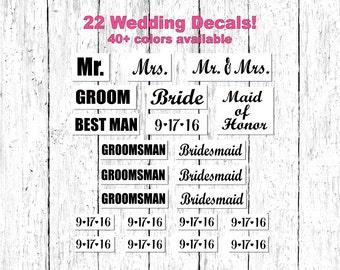 22 Wedding Decal Set, Custom Date, Bridal Party Decals, Mr. Mrs. Decals, Bridal Party Gifts, Bride Groom Decal, Bridesmaid Gift, Groom Gift