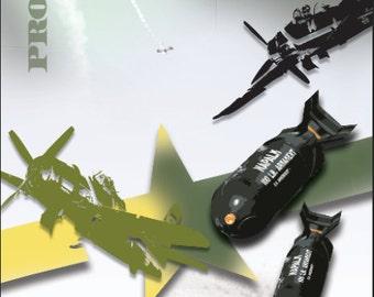 Military Army Navy Airplane Ambush LAMINATED Cornhole Wrap Bag Toss Decal Baggo Skin Sticker Wraps