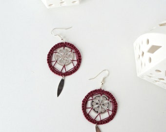 Earrings silver and BALKAN marsala 11 colours / ring woven wire embroidery/rose/inspiration slave / sheep dreamer