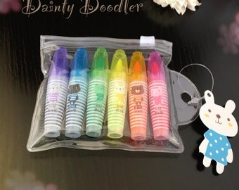Cute Mini Rainbow Highlighters / Set of 6 / Stationery / Office / Revision / School / Student / Teacher / Gift