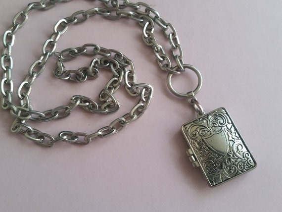 Charming Vintage Silver Locket - Antique Fashion Necklace From 1960s - Heavy Book Locket With Magnetic Closure