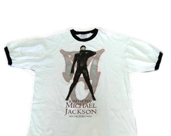 Vintage Michael Jackson T Shirt Size XL King of Pop History World Tour Ringer Style Made in USA
