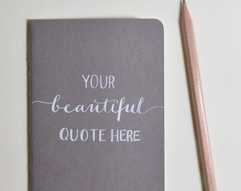 Personalized Journal with Name or Quote | Moleskine Cahier Style | Handwritten Calligraphy