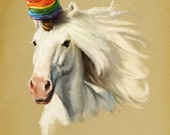 Rainbow Pancakes Unicorn // pigment print, archival, 5x7 8x10 11x14 // geeky gifts, cute gifts, kids room, cute art