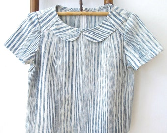 Natural Indigo dyed hand spun & hand woven scoop top with petit Peter Pan-collar - IB1
