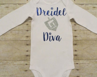 "Baby/Toddler/Girl""Dreidel Diva"" Hanukkah Baby Bodysuit or Tee Shirt"