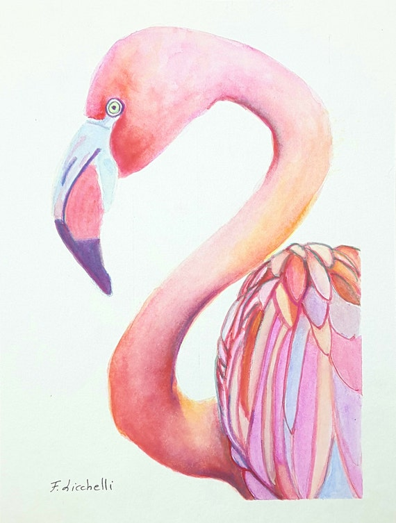Pink Flamingo, Original watercolour by Francesca Licchelli, ooak, baby shower gift idea, wall art, home office decoration, child's bedroom