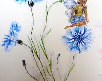 Fairy wall decal, blue fairy, fairy wall stickers, fairy decals, girly decals, floral wall decals, fairy wall decals