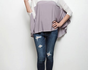 Sample Sale : knit top blouse colorblock round neck  longbsleeves white gray ONE SIZE