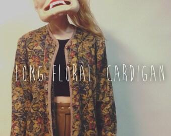 vintage floral cardigan / long sleeve button up / long floral cardigan