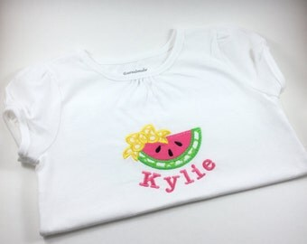 Personalized Watermelon Shirt with Bow, Monogrammed Watermelon Shirt with Bow, Embroidered Watermelon Shirt with Bow, Summer Shirt with Bow