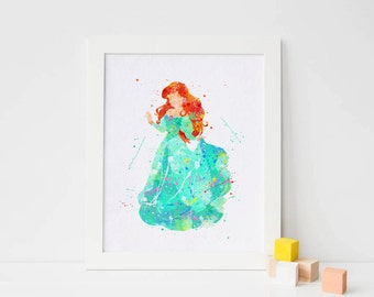 Disney Princess Ariel watercolor Disney Art Nursery Ariel print Kids Decor Arieal wall art printable Baby Room ariel poster, Christmas Gift