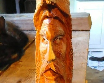 Wolf Man hand carved from Pecan wood