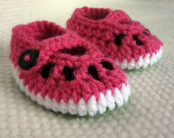 Watermelon Baby Booties, watermelon, crochet baby shoes, baby booties crochet, baby shoes girl, summer baby shower, newborn gift, watermelon