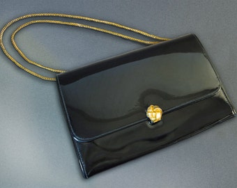 Vintage '70's Black Patent Leather Handbag with Adjustable Gold-Tone Chain Handle and Magnetic Decorative Gold-tone Clasp