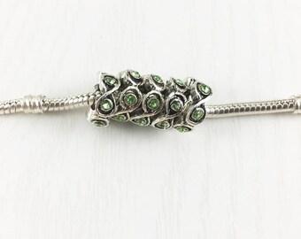 Green Rhinestone Silver Spacer Beads, European Bead, Silver Spacer Rings, Rhinestone Bead, European Charm Beads, EB1277