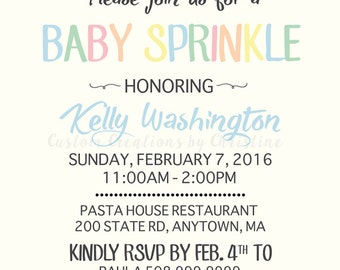 Baby Sprinkle Invitation Neutral/Boy/Girl/Confetti/Shower/Simple/Pastel/Umbrella/5X7/Digital/Custom/Personalized/Printable