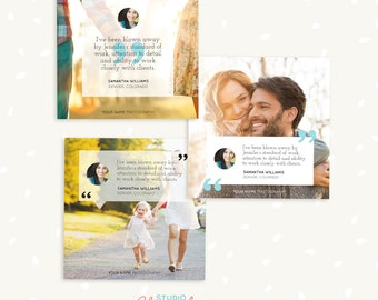 Social Media Template, Facebook Template, Instagram Template, Testimonials, Testimonial marketing, Quote photoshop template, photographers
