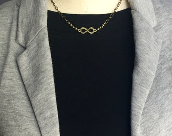 Bronze infinity necklace, infinity charm necklace