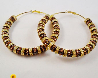 Big Bling Brown and Gold Hoop Earrings - 3in - Basketball Wives Style