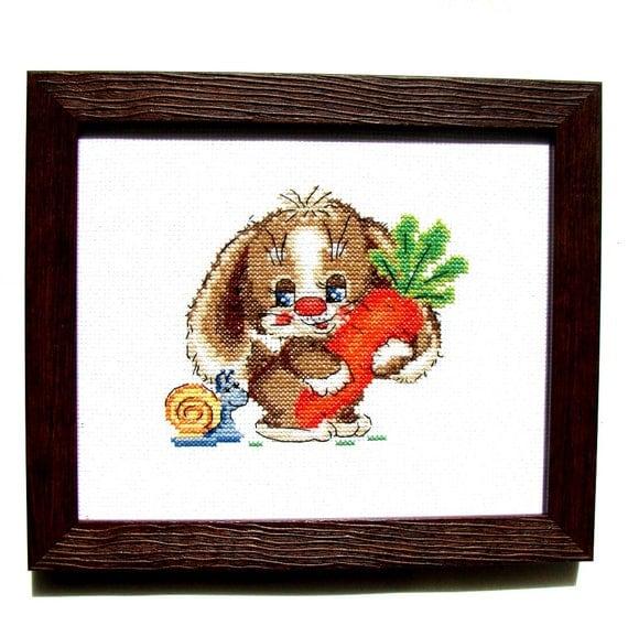 Wall Decor Cross Stitch : Cross stitch banny picture wall d?cor nursery gift