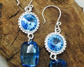 Shapes in Blue Swarovski Crystal  Earrings