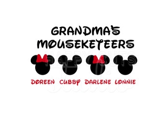 Personalized Mom Dad Grammy Grandma Grandpa Mouseketeers Decal / Mickey Mouse Minnie with Bow Disney Iron On Decal Vinyl for Shirt 027