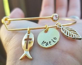 Gold Plated Custom Christian Charm Bracelet, Baptism Gift Bracelet, First Communion Gift, Christian Gift, Christian Bracelet Adjustable